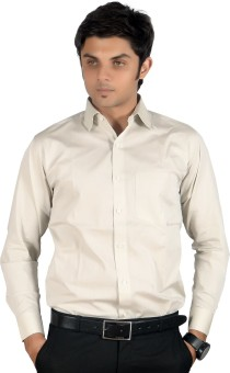 Proactive Men's Solid Formal, Casual, Festive Beige Shirt