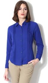 Allen Solly Women's Solid Formal Blue Shirt