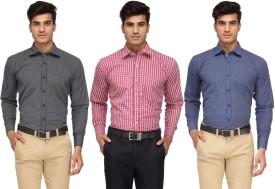 Rico Sordi Men's Checkered, Striped Formal Shirt Pack Of 3