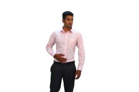 Green Bows Men's Checkered Formal Pink Shirt