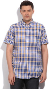 GANT Men's Checkered Casual White, Blue, Yellow Shirt
