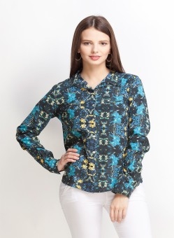 Oxolloxo Short Shirt With Floral Pattern Women's Printed Casual Shirt