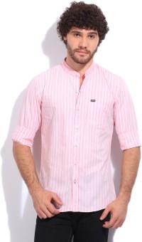 John Players Men's Striped Casual White, Pink Shirt