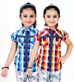 Gee & Bee Girl's Checkered Casual Multicolor Shirt