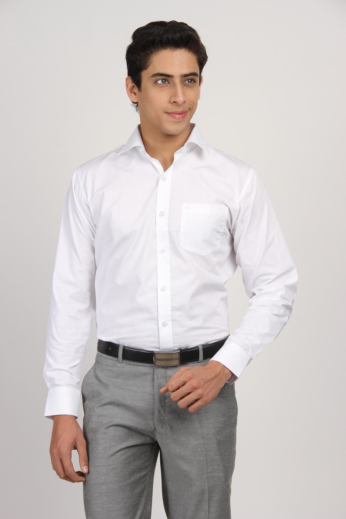 Arihant Men 39 S Solid Formal Shirt Buy White Arihant Men 39 S