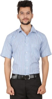 Stylo Shirt Men's Striped Formal Blue Shirt