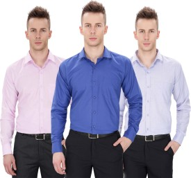 Regal Fit Plus Men's Solid Formal Shirt Pack Of 3