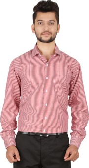 Stylo Shirt Men's Striped Formal Red Shirt