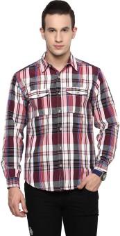Yepme Men's Checkered Casual Black, Maroon Shirt