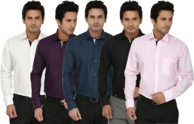 Fizzaro Men's Solid Formal Linen Dark Blue, Purple, Black, White, Pink Shirt Pack Of 5
