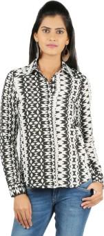 22nd Street Black Women's Self Design Casual Shirt