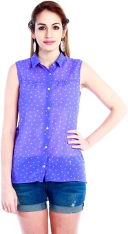 Nun Buttoned Up Purple Women's Printed Casual Shirt