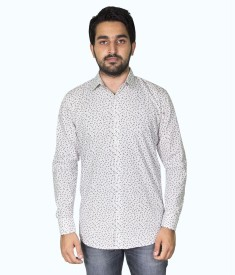 Mangue Men's Floral Print Casual White Shirt