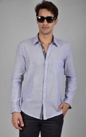 Chalkfactory Men's Striped Casual Light Blue Shirt