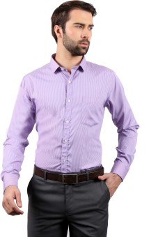 Solemio Men's Striped Formal Pink Shirt