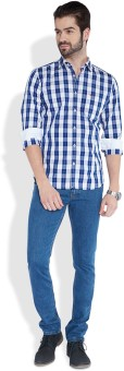 Parx Men's Checkered Casual Blue Shirt