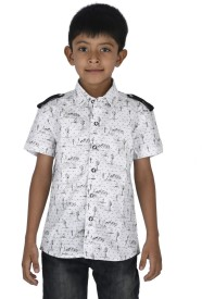 Twin Twine Boy's Printed Casual White Shirt