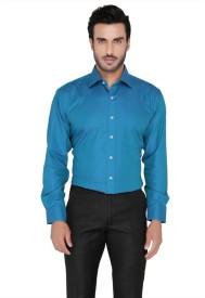 Blacksmith Men's Self Design Formal Blue Shirt