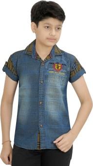 Kidzee Boy's Printed Casual Blue, Brown Shirt
