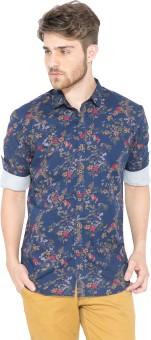 Status Quo Men's Floral Print Casual Dark Blue Shirt