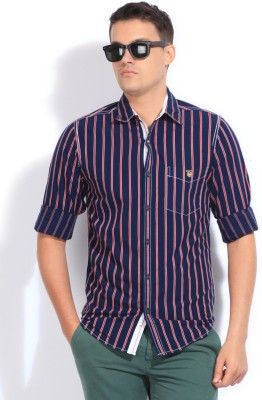 Mufti Mufti Men's Striped Casual Shirt (Blue)