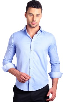 Solemio Men's Striped Formal Blue Shirt