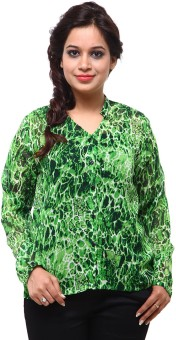 Fbbic Green Black Leopard Shirt Women's Printed Casual Shirt
