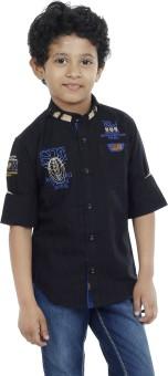 OKS Boys Boy's Striped Casual Linen Shirt
