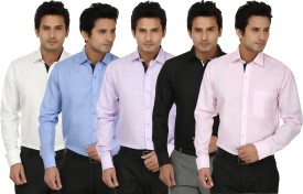 Fizzaro Men's Solid Formal Linen Black, White, Pink, Purple, Blue Shirt Pack Of 5