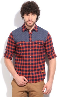 Status Quo Men's Checkered Casual Blue, Orange, Red Shirt