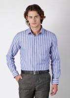 Burnt Umber Men's Striped Formal Shirt