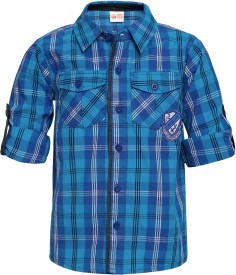 FS Mini Klub Boy's Printed Casual Blue Shirt