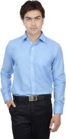 25th R Men's Self Design, Checkered Formal, Party, Wedding, Festive, Lounge Wear Blue Shirt