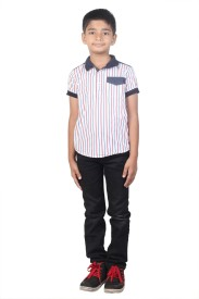 STOP by Shoppers Stop Boy's Striped Casual White, Blue Shirt