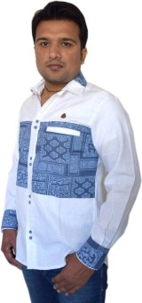 PP Shirts Men's Printed Party, Casual, Festive White, Blue Shirt