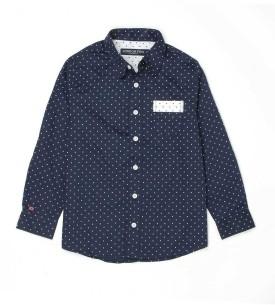 London Fog Kids Boy's Polka Print Casual Blue Shirt