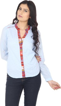 Eighteen 4ever Bright Blue Women's Self Design Casual Shirt