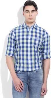 Allen Solly Men's Checkered Casual Blue, Light Blue, Yellow Shirt