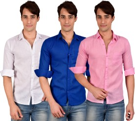 BRC Men's Solid Formal, Casual Linen White, Blue, Pink Shirt Pack Of 3