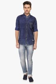 R&C Men's Striped Casual Blue Shirt