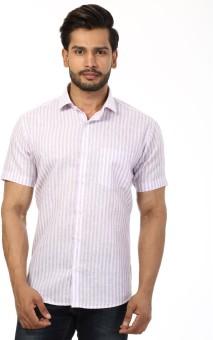 Baaamboos Men's Striped Formal Linen Pink Shirt