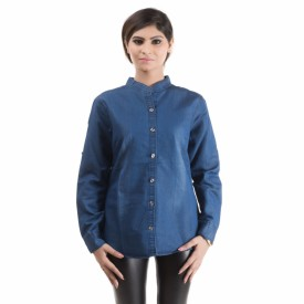 RIDDHI Women's Solid Casual Denim Dark Blue Shirt