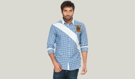 Zovi Blue Men's Checkered Casual Shirt