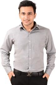 Bluebird Men's Solid Formal Grey Shirt