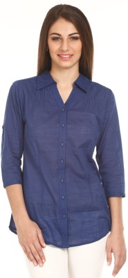 Mustard Mustard Women's Solid Casual Shirt (Blue)