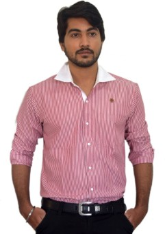 PP Shirts Men's Striped Formal Pink Shirt