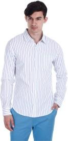 Zobello Men's Striped Casual White, Blue Shirt