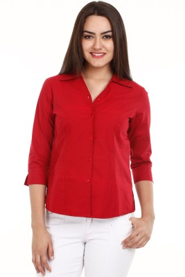 Mustard Mustard Women's Solid Casual Shirt (Red)