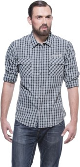 Zovi Slim Fit Grey And Black Shirt With Pockets Men's Checkered Casual Shirt