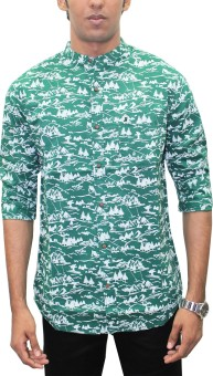 Southbay Men's Geometric Print, Printed Casual Green Shirt